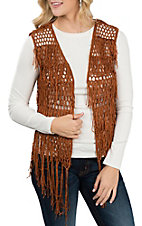 Umgee Women's Terracotta Fringed Vest