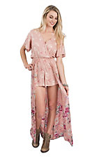 Angie Women's Rose Tan Floral Short Sleeve Maxi Romper Dress