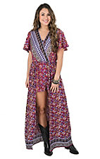 Angie Women's Eggplant Multi Print Short Sleeve Maxi Romper Dress