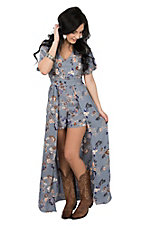 Angie Women's Blue Grey Floral Short Sleeve Maxi Romper Dress