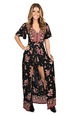 Angie Women's Black & Pink Floral Short Sleeve Maxi Romper Dress