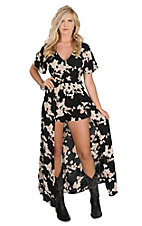 Angie Women's Black & Cream Floral Short Sleeve Maxi Romper Dress