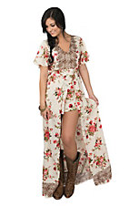 Angie Women's Cream Floral Print Short Sleeve Maxi Romper Dress