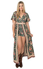 Angie Women's Olive Floral Print Short Sleeve Romper Maxi Dress