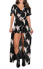 Angie Women's Black Steer Print Maxi Romper Dress