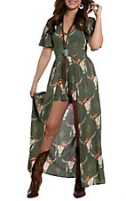 Angie Women's Olive Steer Print Maxi Romper Dress