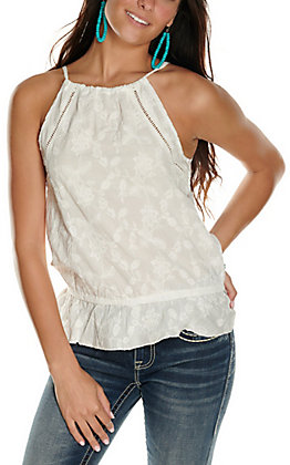 Rock & Roll Cowgirl Women's White with Floral Embroidery Sleeveless Fashion Tank Top