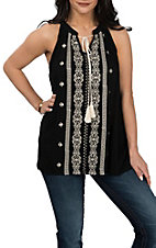 Rock & Roll Cowgirl Women's Black Sleeveless w/ Embroidery and Tassels Fashion Shirt