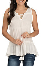 Rock & Roll Cowgirl White with Lace Tiered Lace Up Sleeveless Fashion Top