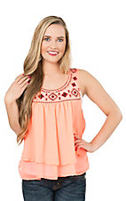 Rock & Roll Cowgirl Women's Coral with Aztec Embroidery Sleeveless Fashion Top