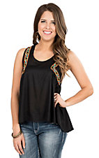 Rock & Roll Cowgirl Women's Black with Multicolor Embroidery Sleeveless Fashion Top