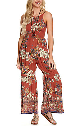 Angie Women's Brick Red with Floral Print Smocked Sleeveless Jumpsuit