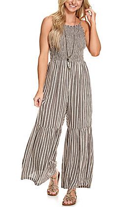 Angie Women's Grey and Cream Stripes Smocked Sleeveless Jumpsuit