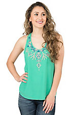Rock & Roll Cowgirl Women's Teal with Blue, Pink, and SIlver Aztec Embroidery Sleeveless Fashion Top