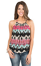 Rock & Roll Cowgirl Women's Fuschia, Teal, Black, and White Print Sleeveless Chiffon Fashion Top
