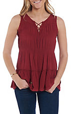 Rock & Roll Cowgirl Women's Deep Red Lace Trim Tiered Tank Top