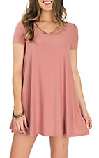 Derek Heart Women's Rose Criss Cross Scoop Neck S/S Dress