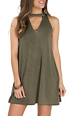 Derek Heart Women's Olive Mock Neck w/ V Cutout Sleeveless Dress