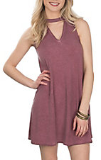 Derek Heart Women's Rose Brown Mock Neck w/ V Cutout Sleeveless Dress