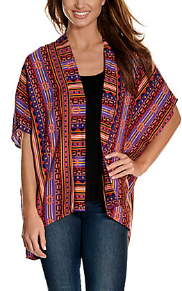 Rock & Roll Cowgirl Women's Purple, Gold & Pink Aztec Stripe Print Kimono