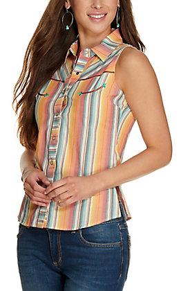 Rock & Roll Cowgirl Women's Serape Stripes Sleeveless Retro Western Shirt