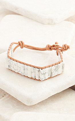 Amber's Allie Leather and Semi-Precious White Stone Bracelet