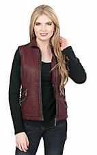 Montana Clothing Company Women's Burnt Red with Elastic Details Zip Up Vest