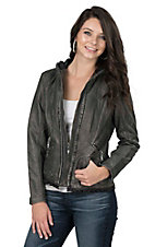 Montana Clothing Company Women's Silver with Elastic Details Zip Up Long Sleeve Jacket