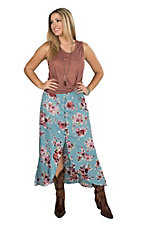 Angie Women's Blue Floral Ruffle Button Down Hi-Lo Maxi Skirt