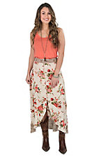 Angie Women's Cream Floral Ruffle Button Down Hi-lo Maxi Skirt
