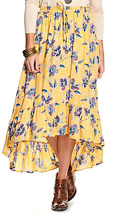 Angie Women's Yellow with Purple and Blue Floral Print Hi-Lo Skirt