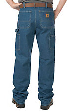 Carhartt Men's Denim Double-Front Washed Logger Dungaree Original Fit Work Pants