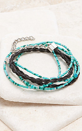 Cowboy Collectibles Black And Turquoise Beaded Multi Strand Bracelet