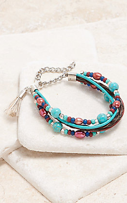 Cowboy Collectibles Brown With Multi Turquoise And Magenta Pearl Strand Bracelet