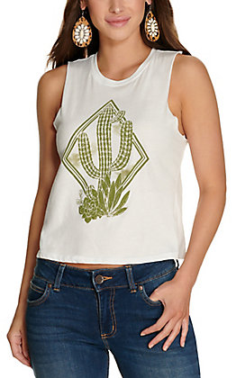 Rebellious One Women's White with Olive Cactus Graphic Sleeveless Tank Top