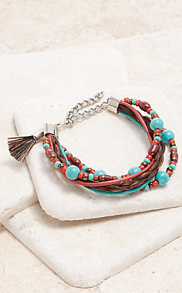 Cowboy Collectibles Brown With Turquoise And Red Pearl Multi Strand Bracelet