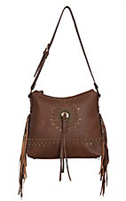 Bandana by American West Sioux Collection Tan Zip Top Shoulder Bag