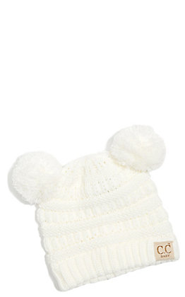 C.C. Exclusives Baby Ivory Double Pom Beanie