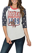 XOXO Art & Co. Women's Rodeo American Flag 3/4 Sleeve Casual Knit Shirt