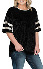James C Women's Black Varsity Velvet Fashion Shirt