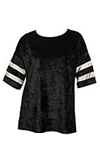 James C Women's Black Varsity Velvet Fashion Shirt - Plus Size
