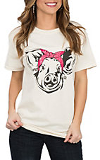 Girlie Girl Originals Women's Cream Bandana Pig Graphic S/S T-Shirt