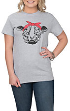 Girlie Girl Originals Women's Grey Bandana Sheep S/S T-Shirt