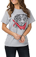 Girlie Girl Originals Women's Heather Grey Australian Shepard W/ Bandanna S/S T-Shirt