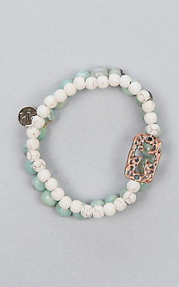 Laminin Banjo Multicolored Beaded White Howlite Bracelets