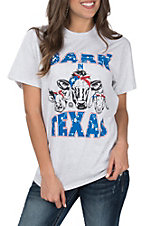 Girlie Girl Women's Grey Barn in Texas with Bandana Farm Animals Short Sleeve Tee