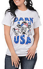 Girlie Girl Women's Grey Barn in USA with Bandana Farm Animals Short Sleeve Tee