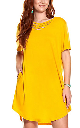 Lucky & Blessed Mustard Short Sleeve Knit Dress