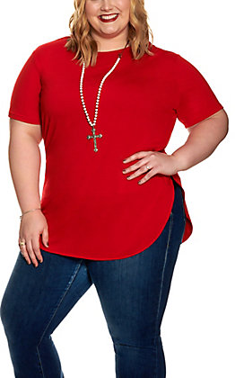 Lucky & Blessed Women's Red Short Sleeve Top - Plus Size