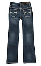 Rock & Roll Cowboy Boy's Dark Wash V Embroidered Seam Pocket Detail Boot Cut Jeans